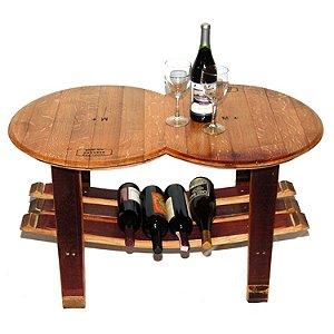 Reclaimed Wine Barrel Head Coffee Table with Stave
