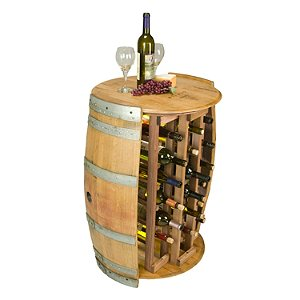 28 Bottle Wine Barrel Wine Rack with Barrel