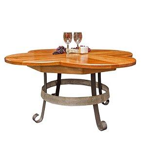 Barrel Head Clovertop Coffee Table with Iron Base
