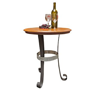 Reclaimed Wine Barrel Head End Table with Iron