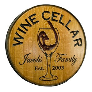 Personalized Reclaimed Wine Barrel Head with Wine Cellar