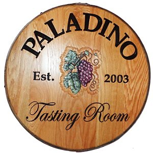Personalized Reclaimed Wine Barrel Head with Tasting Room