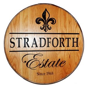 Personalized Reclaimed Wine Barrel Head with Estate and
