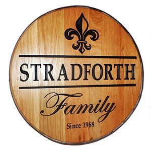 Personalized Reclaimed Wine Barrel Head with Family and