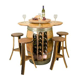 Reclaimed Barrel Table with 28 Bottle Rack and
