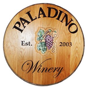 Personalized Reclaimed Wine Barrel Head with Winery and