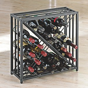 Black Steel X 24 Bottle Stackable Wine Rack