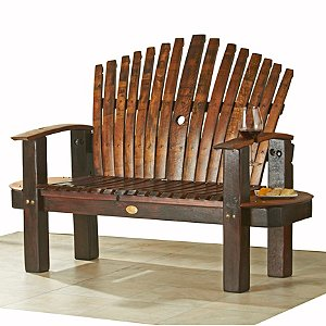 Reclaimed Wine Barrel Stave Love Seat