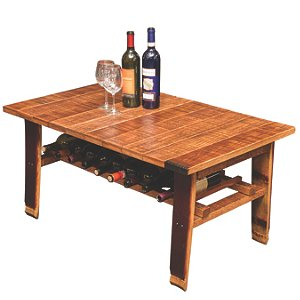 Reclaimed Wine Barrel Stave Coffee Table with Wine