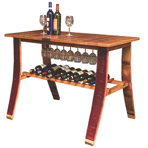 Reclaimed Wine Barrel Stave Tasting Table with Wine