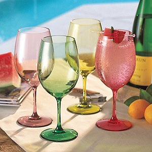 Indoor/Outdoor Mixed Summer Color Wine Glasses (Set of