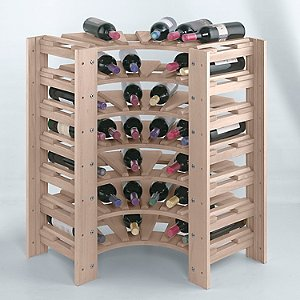 Swedish 42 Bottle Curved Corner Wine Rack (White