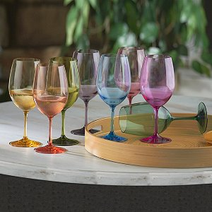 Indoor/Outdoor Mixed Color Wine Glasses (Set of 8)