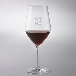 Monogrammed Cube Engraved Fusion Classic Cabernet Wine Glasses