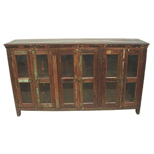 Beech 6 Glass Door Buffet Table
