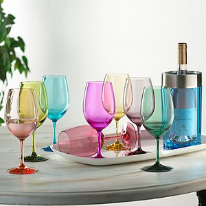 Indoor/Outdoor Mixed Color Wine Glasses and Double Wall