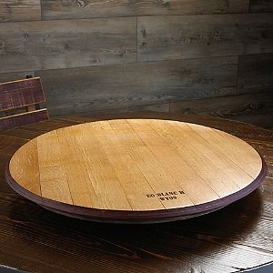 Wine Barrel Head Lazy Susan with Wine Stained