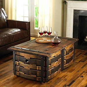 Hand-Crafted Wine Barrel Stave Coffee Table
