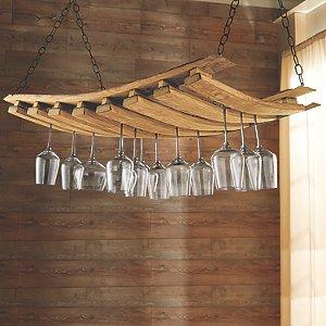 Wooden Hanging Stemware Rack Wine Enthusiast