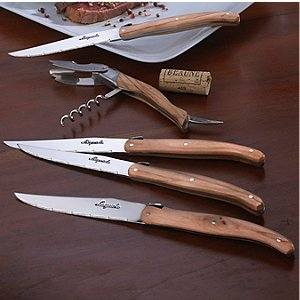Laguiole Olivewood Five Piece Wine Opener and Steak