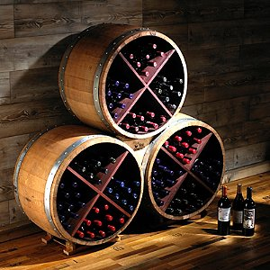 Reclaimed Half Barrel X Wine Rack (Set of