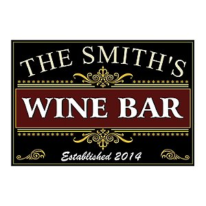 Personalized Wine Bar Sign (Black)