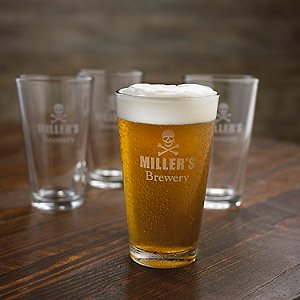 Personalized Skull & Crossbones Beer Glasses (Set of