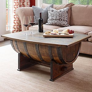 Handmade Vintage Oak Whiskey Barrel Coffee Table Wine