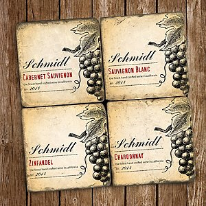 Personalized Marble Coasters Varietal Label Design (Set of