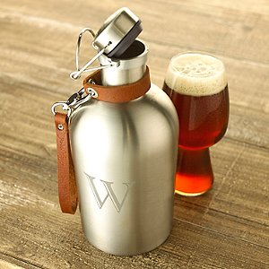 Personalized Stainless Steel Beer Growler with Leather Carry