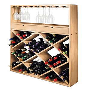 Jumbo Bin and Wine Glass Rack (Unstained)