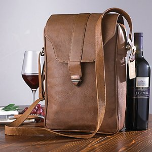 Genuine Leather 2-Bottle Wine Bag with Monogrammed Tag