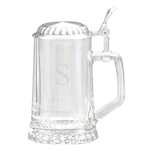 Personalized Glass Beer Stein with Lid
