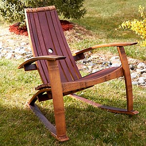 Wine Barrel Stave Adirondack Rocking Chair