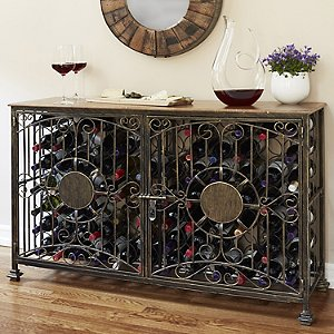 84- Bottle Antiqued Steel Wine Jail Console