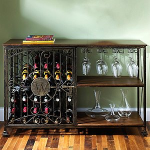 42-Bottle Antiqued Steel Wine Jail Console (with Stem