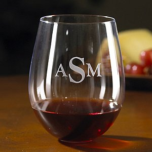 Monogrammed Wine Enthusiast Cabernet Stemless Wine Glasses (Set