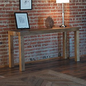 Reclaimed Wood Beam Leg Console Table