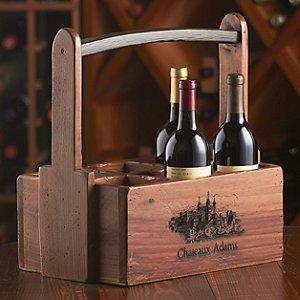 Personalized 6 Bottle Wooden Wine Caddy