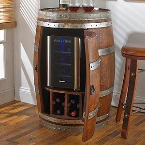Reclaimed Wine Barrel with 6 Bottle Wine Refrigerator