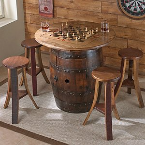 Whiskey Barrel Game Table with 4 Stools