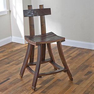 Barrel Stave Stool Rectangle Seat (with Back)