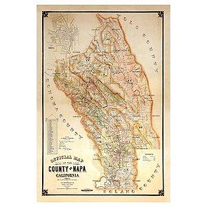 1895 Vintage Napa Map Giclee Print on Canvas