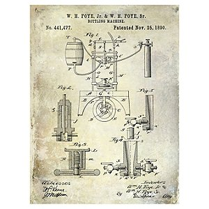 1890 Bottling Machine Patent Giclee Print on Canvas