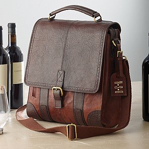 3-Bottle Leather BYO Wine Bag with Monogrammed Hang