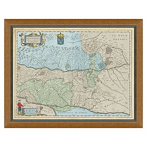 Lyon, Rhone, Burgundy Vintage Reproduction Map 1642