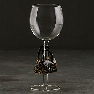 Collectible Leopard Handbag Wine Glass
