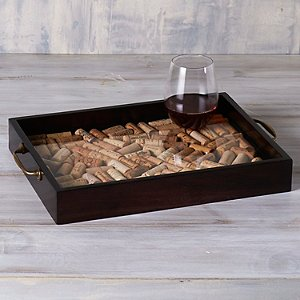 DIY Wine Cork Serving Tray with Antique Brass
