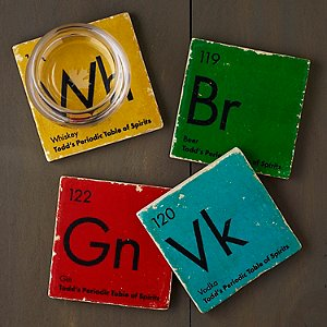 Personalized Periodic Table of Spirits Marble Coasters (Set