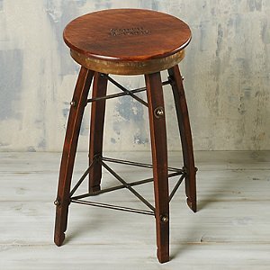 Personalized Reclaimed Swivel Wine Barrel Stave Stool